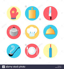 kitchen utensils and kitchen flat icons cooking tools utensils