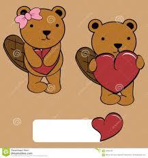 cute and boy beaver cartoon love heart stock vector image