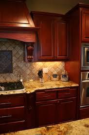 Cherry Kitchen Cabinets Cherry Wood Cabinets Black White Hexagon Tiles Hicks Pendant