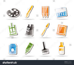Painting Icon Simple Painter Drawing Painting Icons Vector Stock Vector 61308946