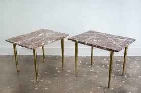 pair of italian marble and brass end tables sold collection