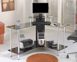 Glass Top Computer Desks For Home Glass Top Computer Desk Sets Glass Top Computer Desk In