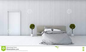 Minimal Bedroom 3d Rendering White Minimal Bedroom With Plant Stock Illustration