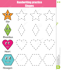 Free Printable Shapes Worksheets Handwriting Practice Sheet Educational Children Game Kids