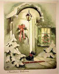 vintage unused 1940s scottie dog christmas card glittering snow