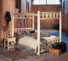 rustic bedroom design with rustic log canopy king bed frame