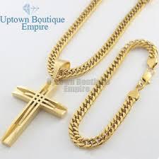 necklace gold men images 24 quot men 39 s stainless steel gold cuban link chain necklace bracelet jpg