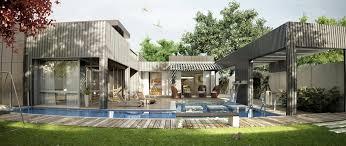 modern one floor house with pool interior design ideas