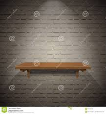 shelves for brick walls wooden shelf on brick wall texture background stock vector