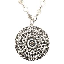 jewelry crystal necklace silver images Catherine popesco large lacy jet black crystal medallion silver jpg
