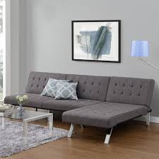 dhp emily tufted grey linen convertible futon darian apt design
