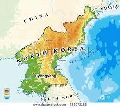map us and korea korea south korea physical map stock vector 721190710