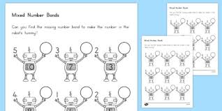 mixed number bonds to 10 on robots worksheet usa usa america