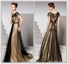2016 spring black and gold sequin plus size evening gowns with