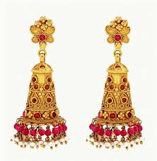temple design gold earrings ruby studded temple jhumkas jewellery designs