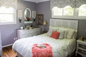 coral and gray bedroom makeover before and after bedroom