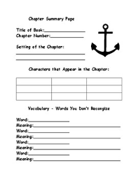 chapter book summary response page by 4th grade captain tpt