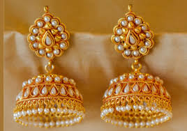 kerala style jhumka earrings pearl studded golden jhumka earring kerala news kerala