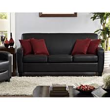 Artificial Leather Sofa Mainstays Faux Leather Sofa Black Walmart