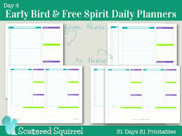 free printable daily planner pages 2014 day 4 early bird free spirit daily planners scattered squirrel