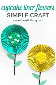 cupcake liner flower craft for kids