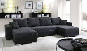 canapé d angle noir simili cuir canapé d angle convertible panoramique 5 à 6 places enno tissu et