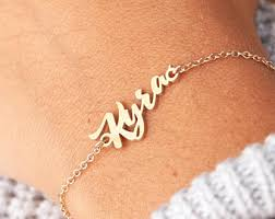Gold Baby Name Bracelets View Layered Necklaces By Blushesandgold On Etsy
