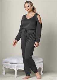 lounge jumpsuit plus size lounge jumpsuit in grey venus