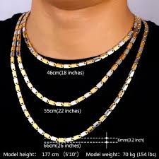 chain necklace size images U7 two tone gold color jewelry men necklace trendy 3 size 5mm wide jpg