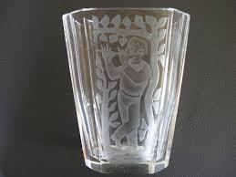 Crystal Glass Vase Hadeland Lars Fletre Norway Crystal Glass Vase With Engraved