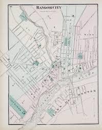 Maine Maps City Of Bangor Map 1875