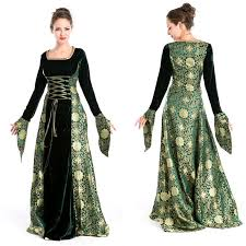 Renaissance Halloween Costume Women Renaissance Medieval Gothic Long Dress Halloween Costumes