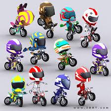 model motocross bikes characters cartoon characters chibii racers dirt bikes