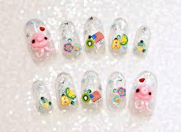 false nails 3d nails octopus summer nail glittery oval nails