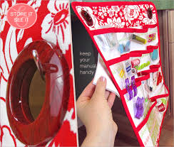 hanging sewing caddy with clear view vinyl pockets janome skyline