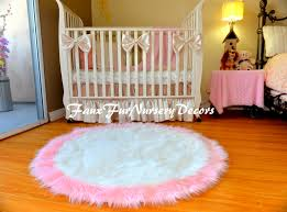 Pink Rug For Nursery Special Design Faux Fur Shaggy Rugs Baby Pink Edges White