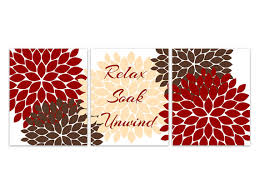 Brown And White Bathroom Accessories Bathroom Canvas Wall Art Relax Soak Unwind Red And Brown