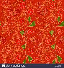 seamless pattern with flowers butterflies and hearts vitrage