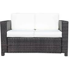 canapé tressé fauteuil canape salon de jardin resine rotin tresse brun 2 places 48