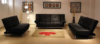 Living Room Sets With Sleeper Sofa Black Tufted Leatherette Living Room Set With Sleeper Sofa