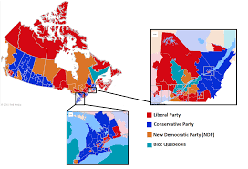 Nytimes Election Map by Results Of Canadian General Election 2015 By Bell Media Canada