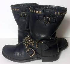 womens black moto boots frye 76795 jenna studded short black leather motorcycle boots