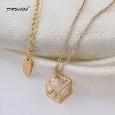 vintage crystal pendant necklace images Unique square gold women cubic zirconia necklace vintage crystal jpg