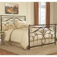black carving iron bed with headboard and footboard completed by