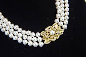 fashion jewelry pearl necklace images Mikimoto triple strand pearl necklace with diamond flower at 1stdibs jpg