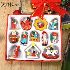 Wooden Toy Christmas Tree Decorations - kiwarm 12pcs traditional wooden christmas tree decorations