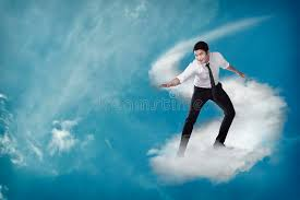 Challenge Asian Asian Business Person Flying With The Cloud Stock Image Image Of