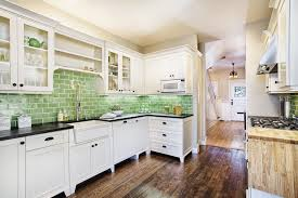 kitchen style green subway tile backsplash all white kitchen