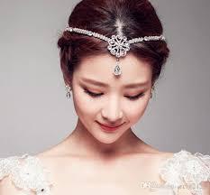 hair accessories wedding vintage wedding bridal silver forehead crown tiara hair