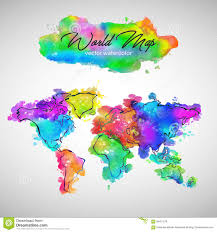 world map watercolor paint vector stock vector image 94451579